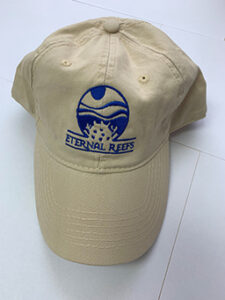Eternal Reefs tan hat with blue logo